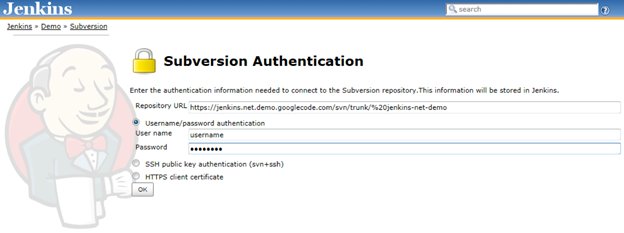 Subversion Authentication in Jenkins CI