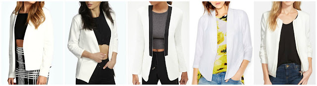 Boohoo Donna Collarless Pocket Blazer $20.00 (regular $30.00)   Boohoo Mollie Collarless Blazer $20.00 (regular $26.00)  Forever 21 Open Front Collarless Blazer $27.80  Bar III Shawl Neck High Low Blazer $59.99 (regular $79.50)  Gibson Collarless Layered Front Jacket $64.90 (regular $98.00)