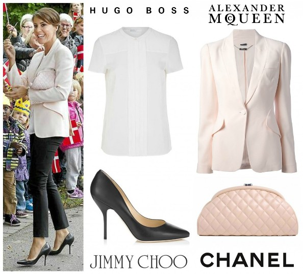 Princess Marie's Alexander McQueen jacket, Hugo Boss top, Jimmy Choo shoes and Chanel bag