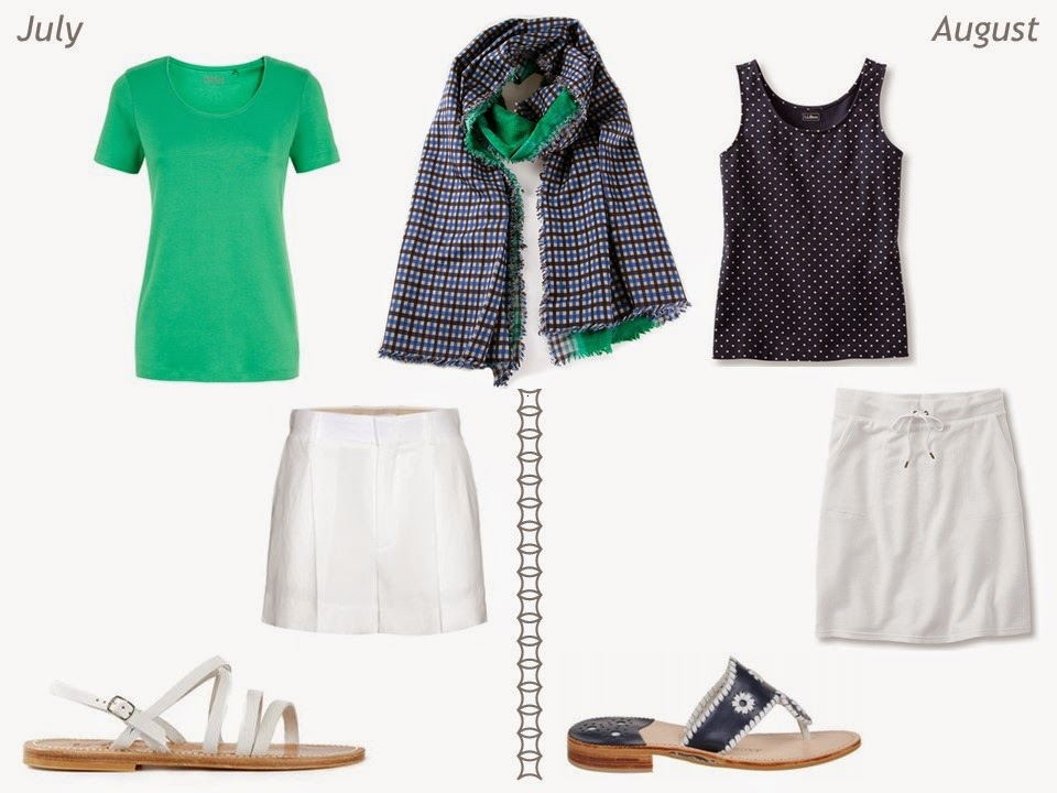 navy and green outfits for summer July and August