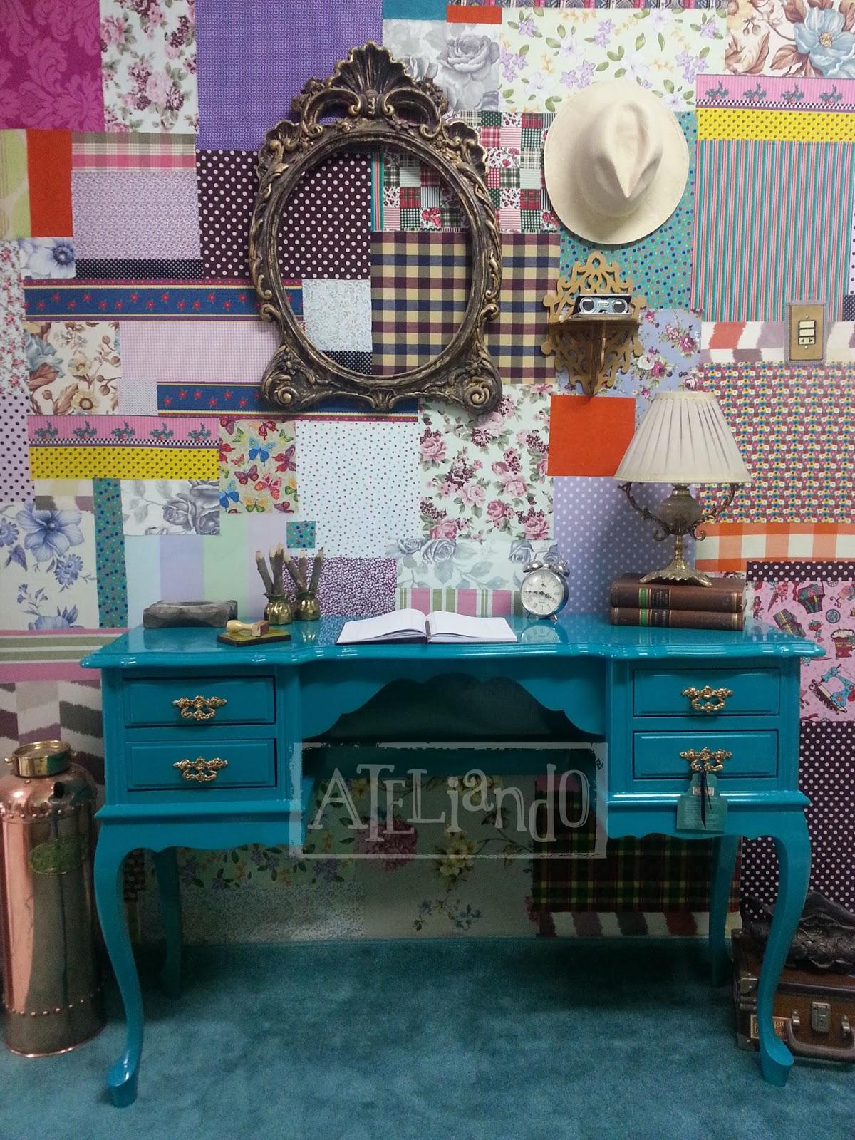 Customização de móveis antigos: Escrivaninha com cadeira Forest #1B4E61 1200x1600