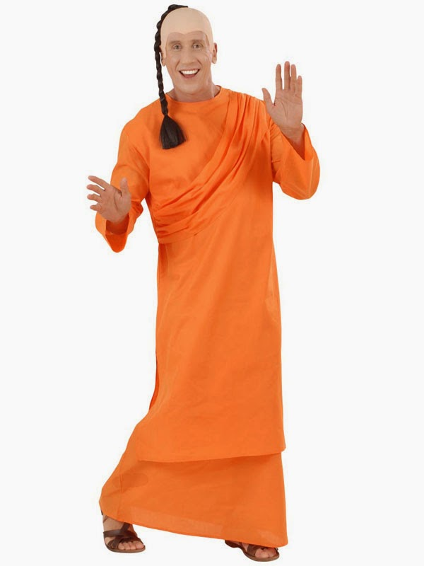 Orange munkekostume
