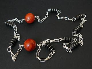 biżuteria z półfabrykatów - koral z hematytem (naszyjnik)