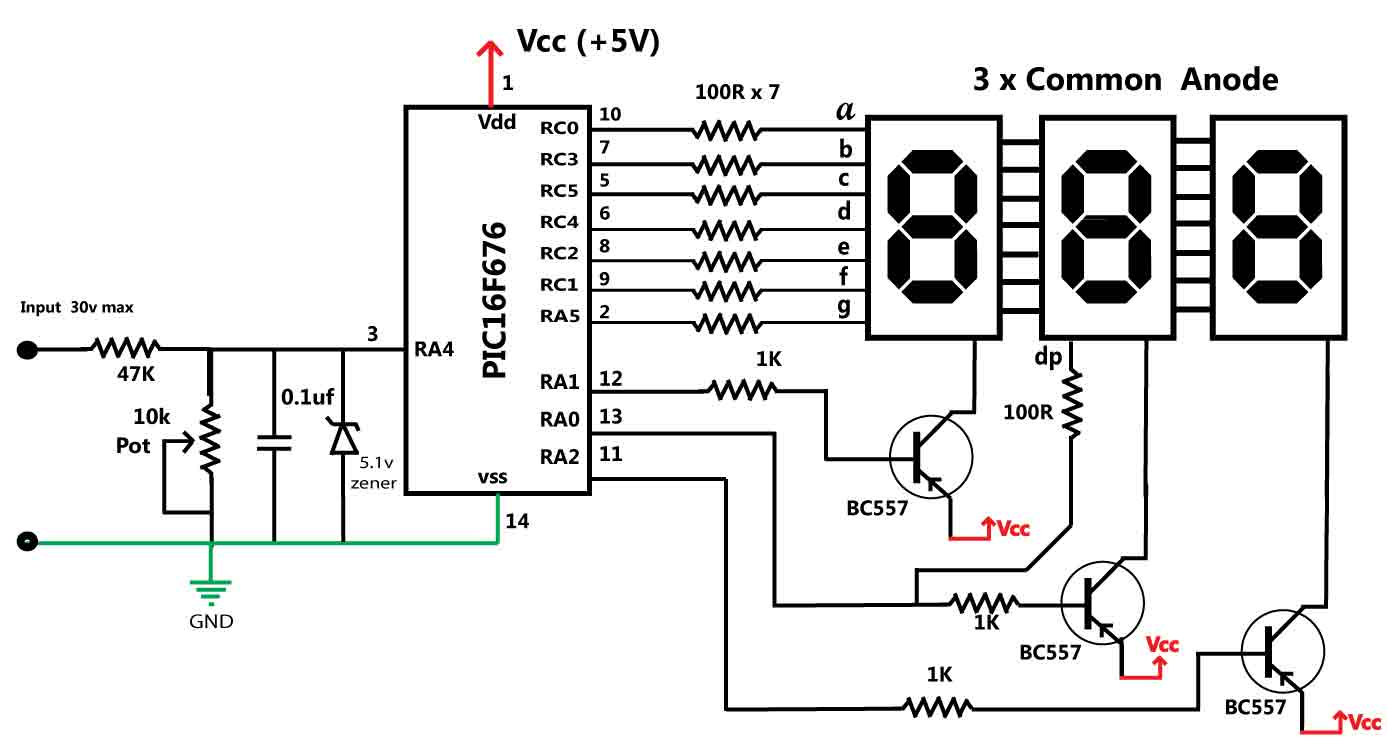 embedded engineering   30 volts panel volt meter using pic mcu