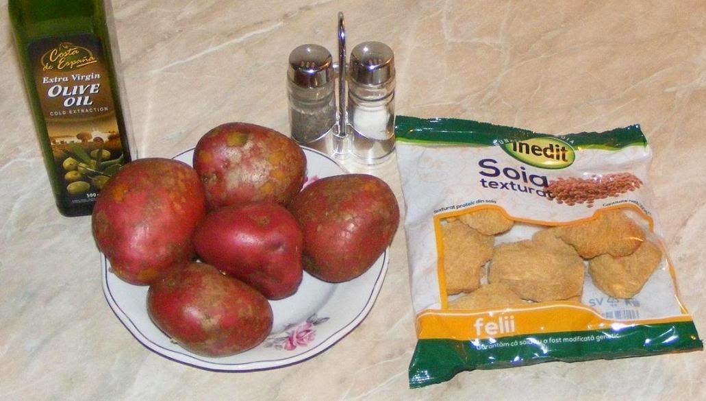 ingrediente friptura de post din soia nemodificata genetic si cartofi copti in coaja, retete cu soia, retete cu cartofi, cum se face friptura de post,