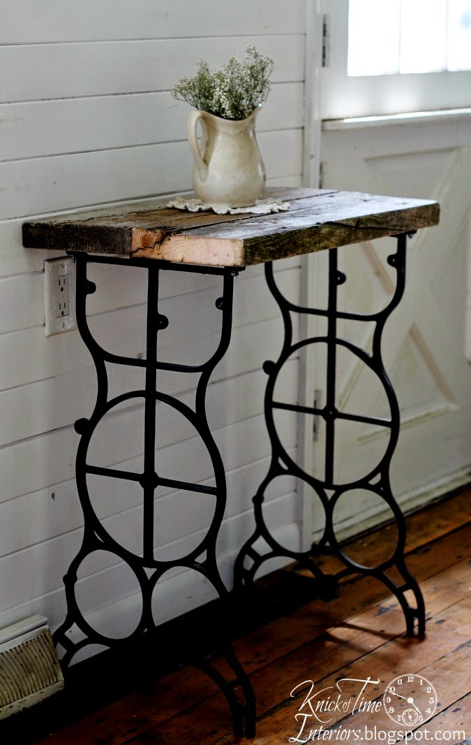 Salvaged WoodAntique Sewing Machine Table into Rustic Side Table via  http://knickoftimeinteriors. - Antique Sewing Machine Table Into Rustic Side Table Knick Of Time