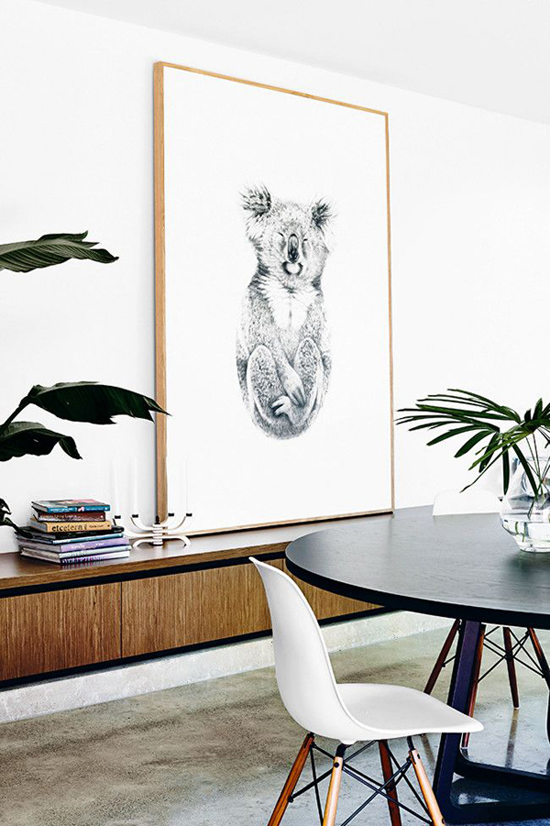Dining room with a koala bear art print. Styling by Heather Nette King, photo by Derek Swalwell via Homelife.