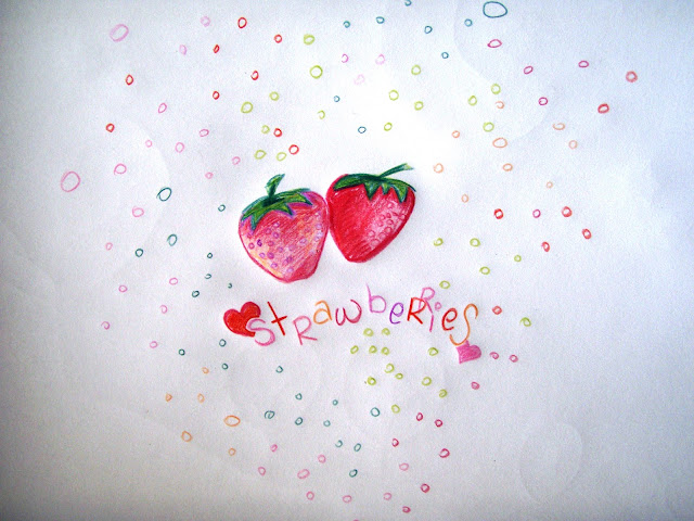 love strawberries coloured pencil drawing