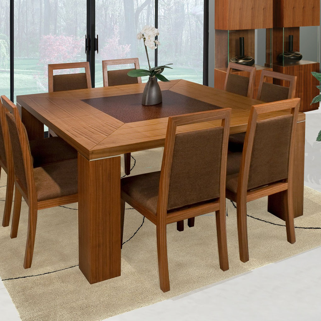Home and garden choosing square dining table for group dinner for Dining room table and 8 chairs
