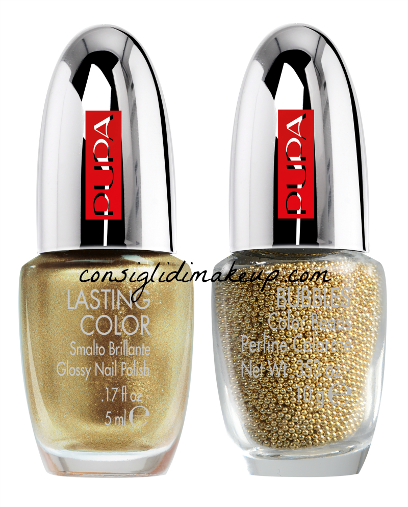 nuovi kit nail art mania pupa metallic bubbles gold