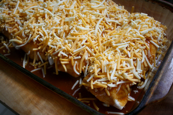 prepped and ready for oven - Shredded Beef Wet Burritos