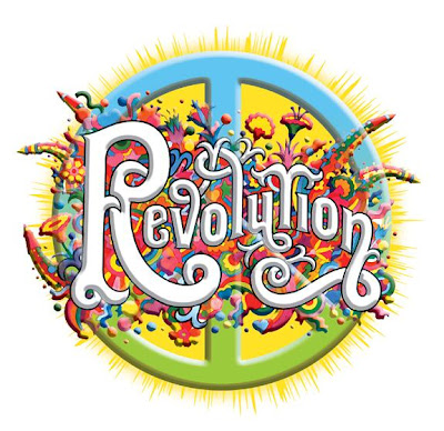 drawing of peace sign with the word revolution in front and flowers all around