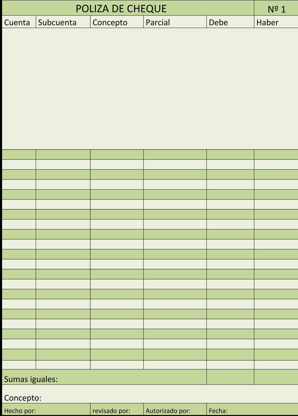 informacion contable en forma electronica: FORMATO DE PÓLIZAS