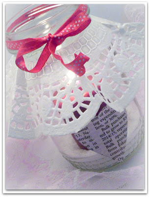 Glass Jar Valentine Candle Holder