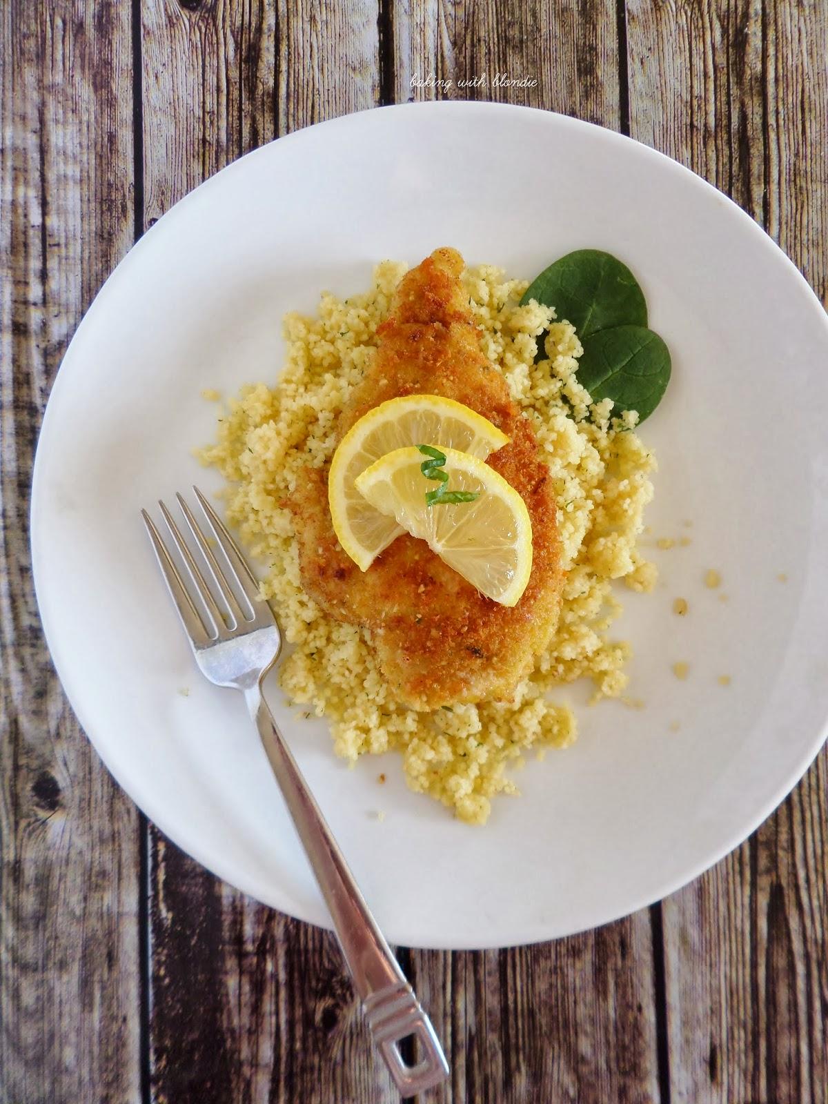 Lemon Chicken Scaloppine In Pine Nut Parmesan Crust