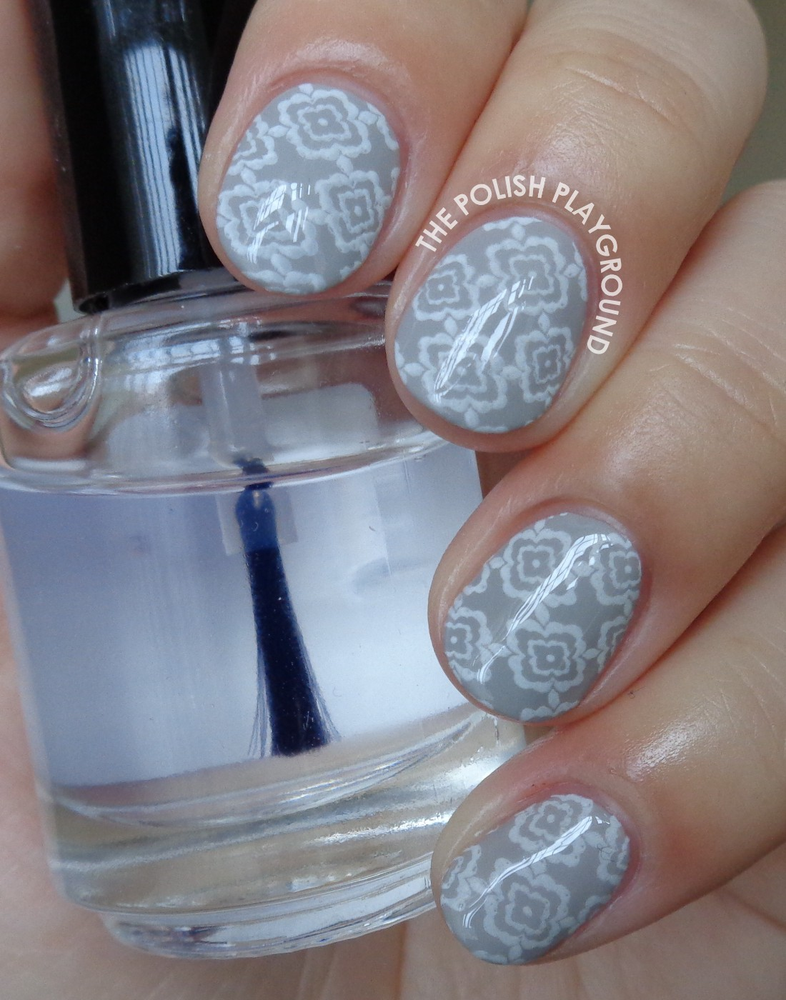 Light Grey and White Floral Wallpaper Stamping Nail Art
