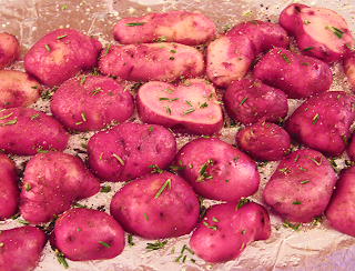 Red Potatoes and Rosemary Sprinkled with Salt and Pepper