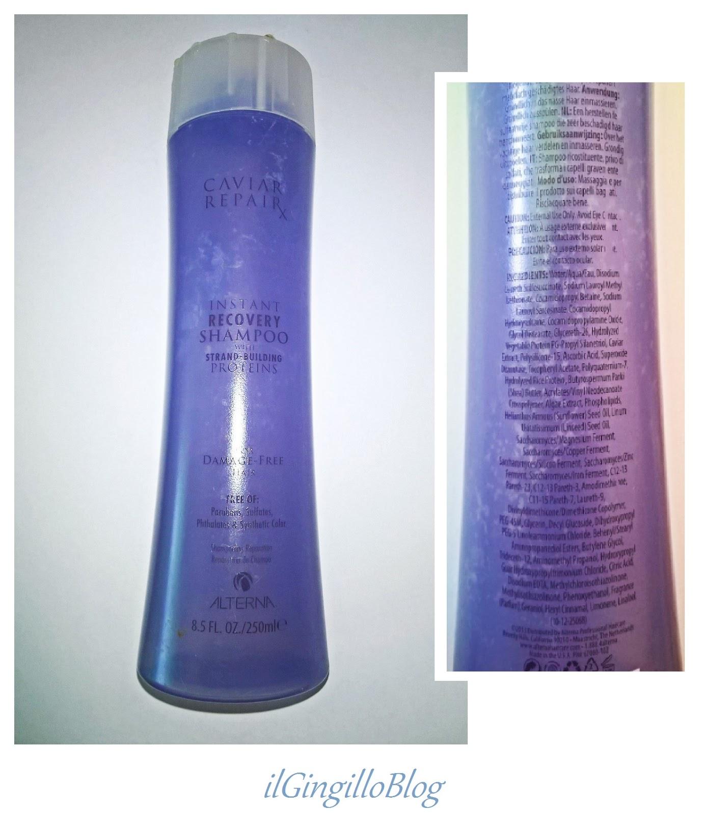 il gingillo blog instant recovery shampoo caviar repair alterna review. Black Bedroom Furniture Sets. Home Design Ideas