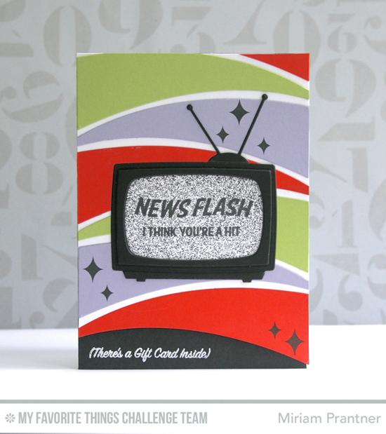 News Flash Card by Miriam Prantner featuring the Laina Lamb Designs Stay Tuned stamp set and the Television and Blueprints 25 Die-namics