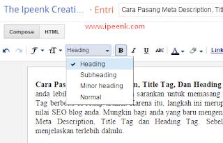 Cara Membuat Heading Tag di Artikel Blogger