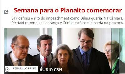 """""""Semana para o Planalto comemorar""""ÁUDIO CBN, por Renata Lo Prete"""