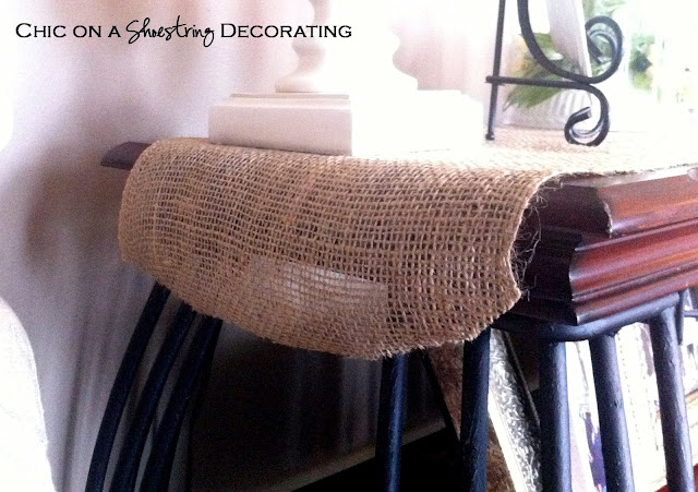 no-sew burlap table runner at Chic on a Shoestring Decorating