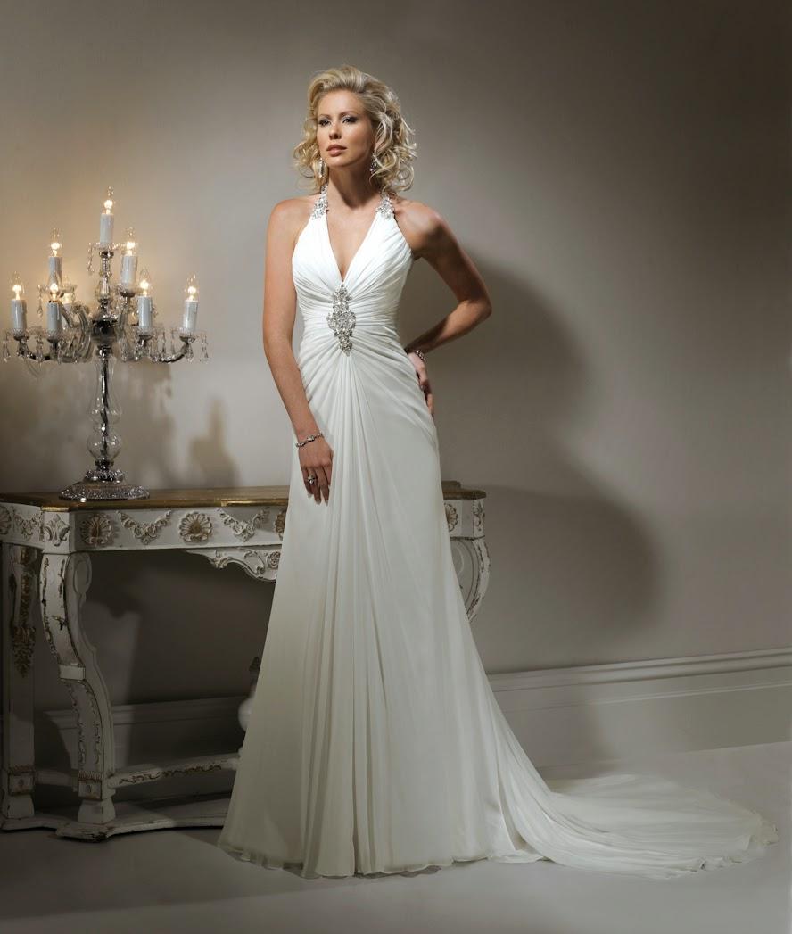 Griechische Göttin Brautkleid aus Chiffon. Griechischer Stil, schlichtes Brautkleid.