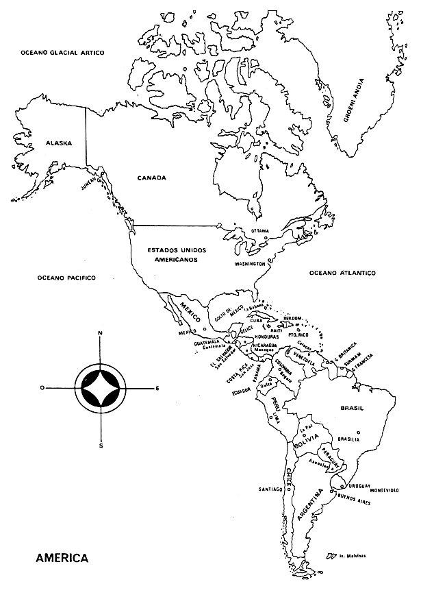 Mapa De America Para Colorear