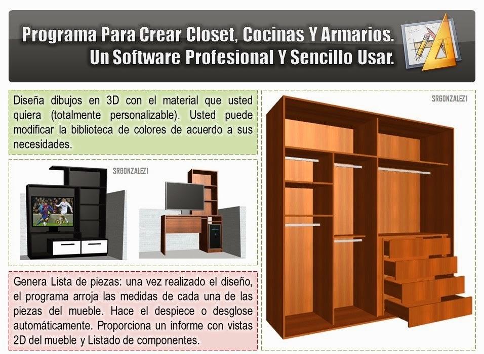 Programa para crear y desglosar muebles cocina y closet for Software para diseno de muebles y optimizacion de corte gratis