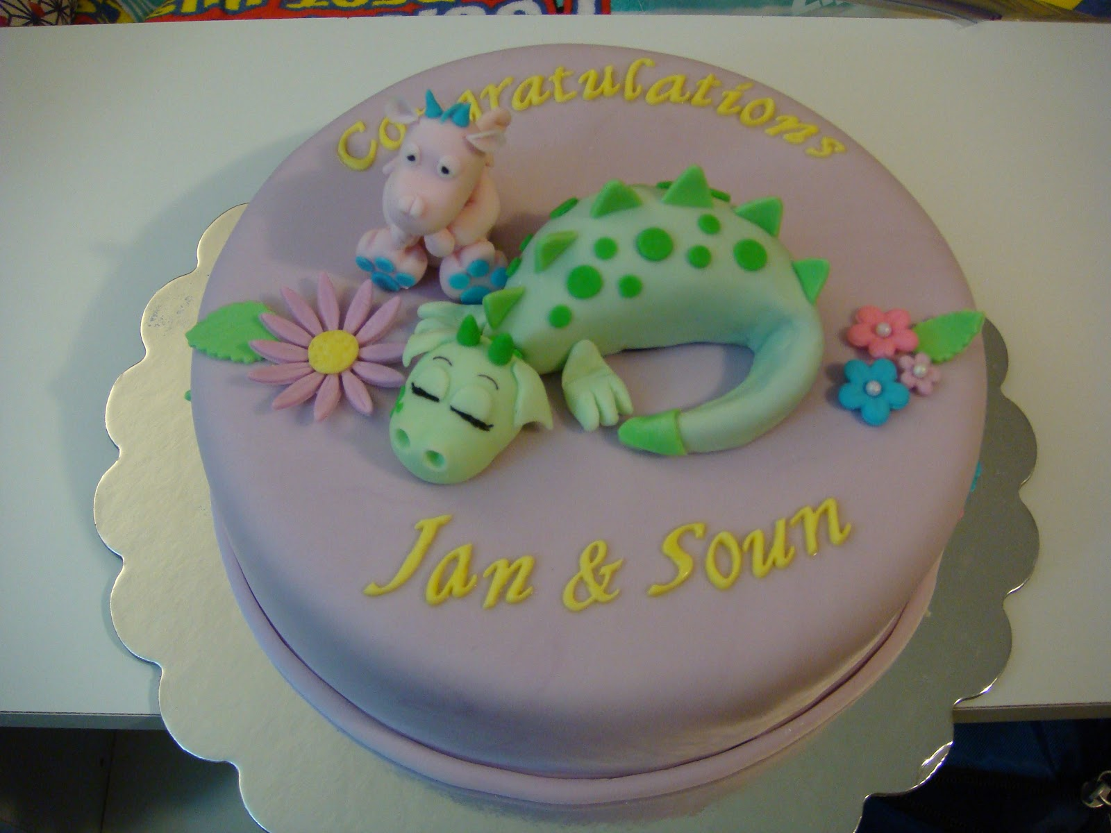 Our Decorated Cakes and Cupcakes Dragon themed Baby Shower Cake