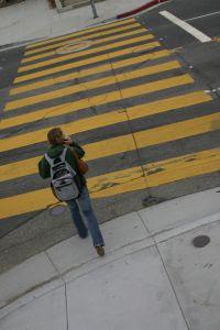 crossing the street on crosswalk