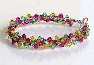 Tulips Swarovski Wire Crochet Bracelet Braidlets