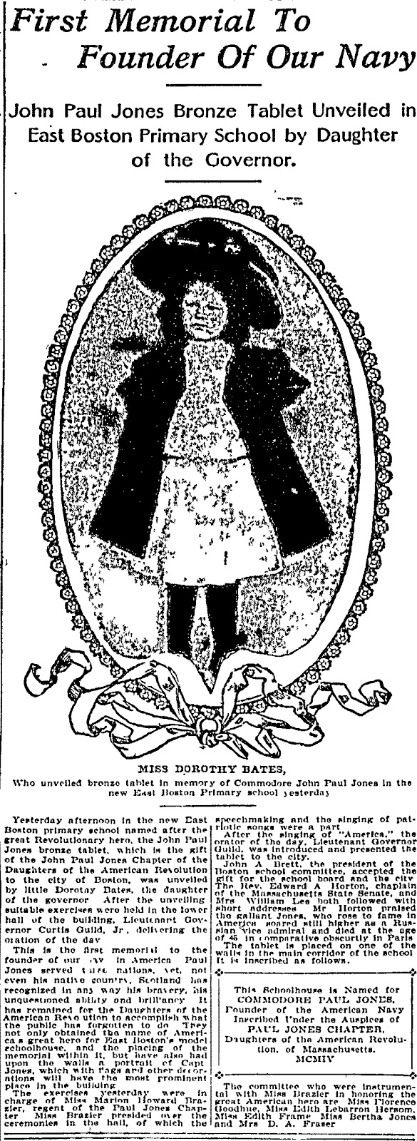 Theraconteuseexpose john paul jones last to recieve medal in john paul jones bronze tablet unveiled in east boston primary school date saturday april 16 1904 paper boston journal boston massachusetts issue buycottarizona