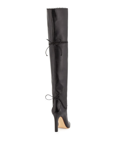 Francesco Russo Black knee high boots with whipstiched seams and ties