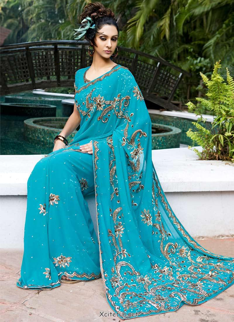 Indian Georgette Party Wear Embroidered Saree Beautiful Collection