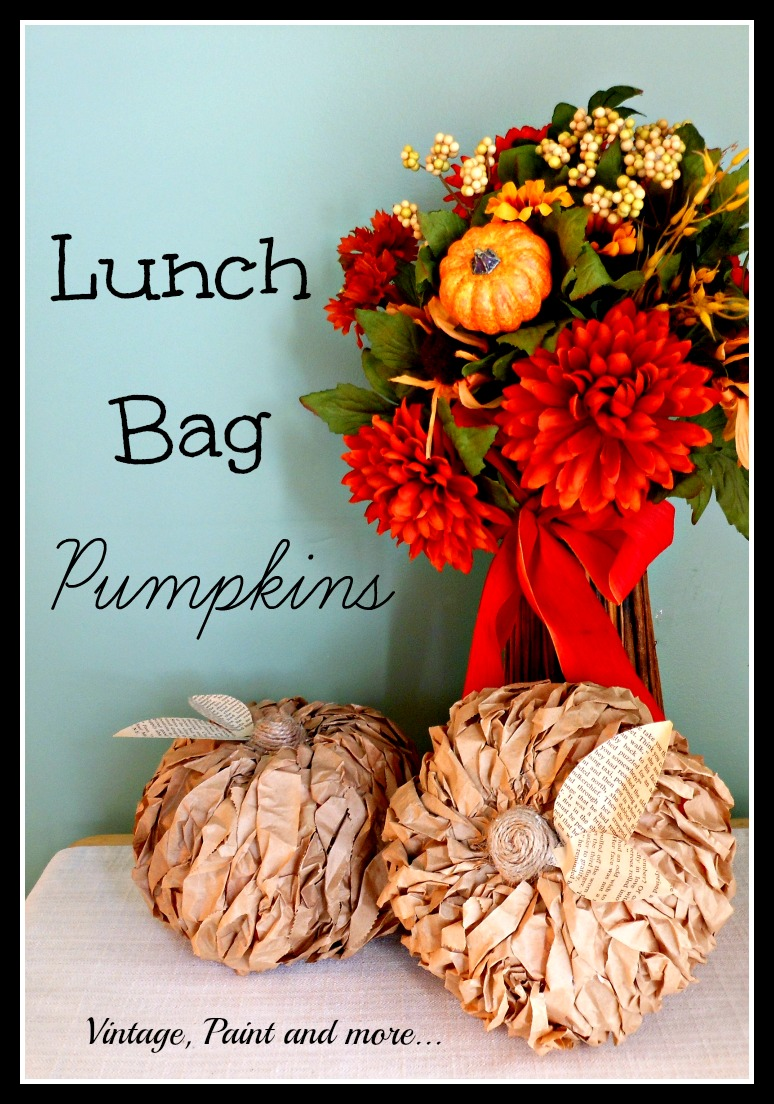 Vintage, Paint and more... Dollar Tree pumpkins recyled with brown paper bags, book pages and twine to make a rustic decor