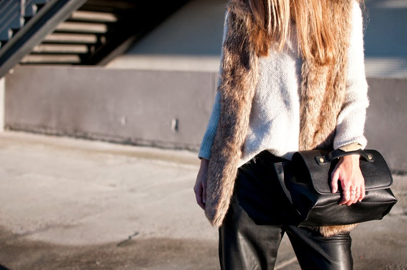 Baggy leather trousers and furry vest
