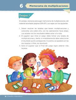Apoyo Primaria Desafíos matemáticos 3er grado Bloque 1 lección 6 Memorama de multiplicaciones