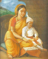 Young Shivaji with Jijabai