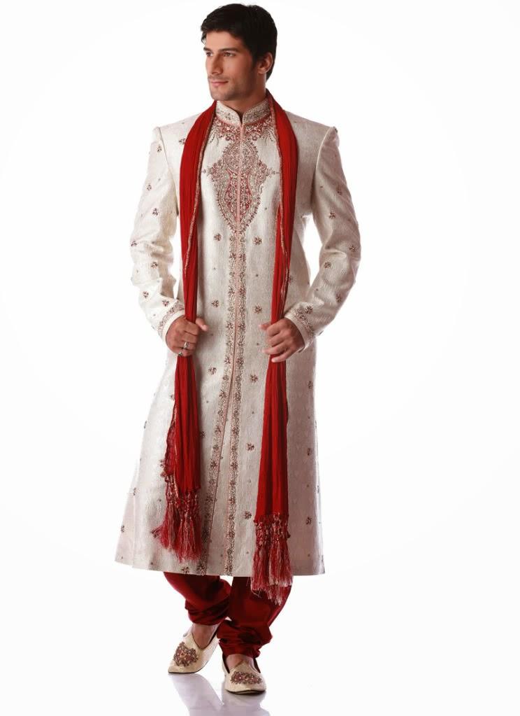 White Pakistani Sherwani For Groom