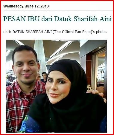 Nukilan Datuk Sharifah Aini untuk Anak Tunggalnya Aliff