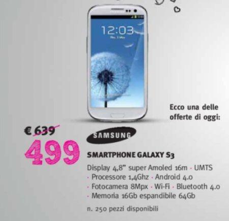 il 14 febbraio 2012 supermedia sconta gli smartphone samsung del 20%: tra questi il Galaxy S 3