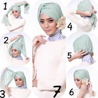 Contoh Tutorial Hijab Turban untuk Lebaran