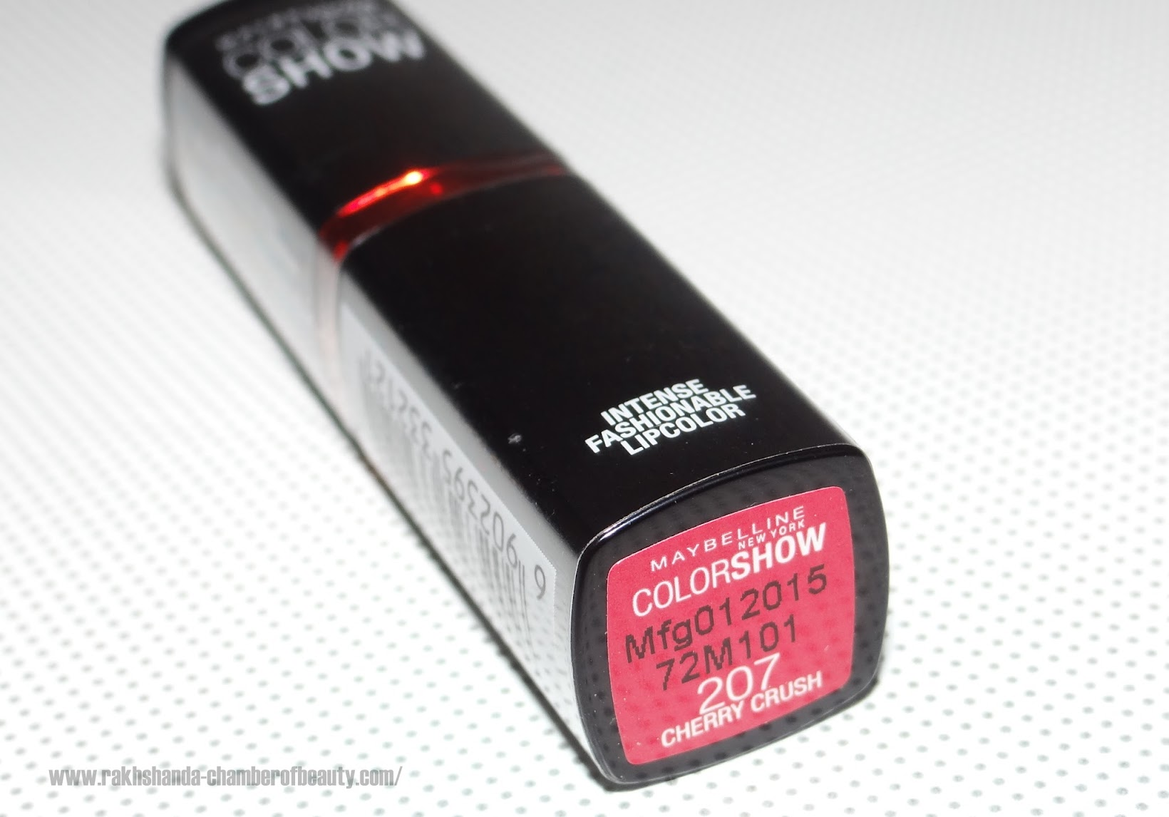 Maybelline Color Show lipstick in Cherry Crush-review, swatches