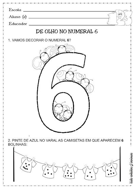 Atividade Matemática Educação Infantil Numeral 6