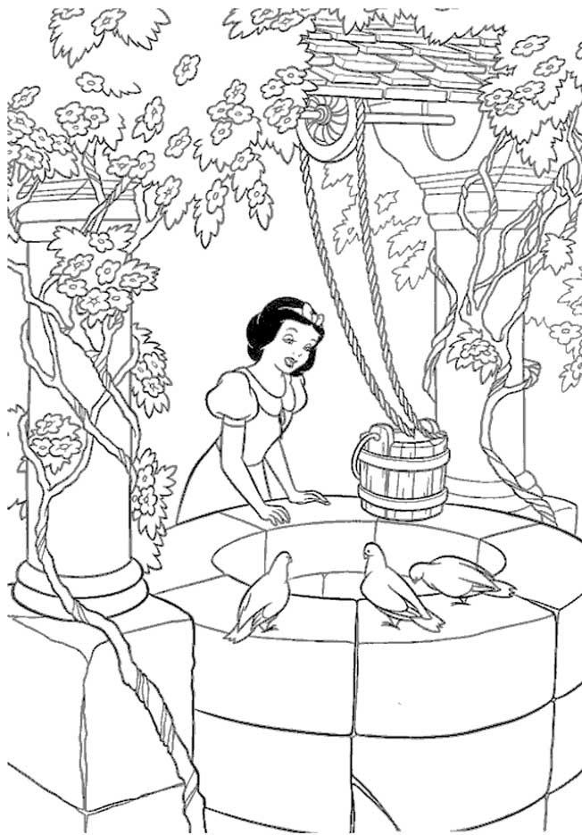 a desenhar Branca De Neve e os Sete Anoes colorir