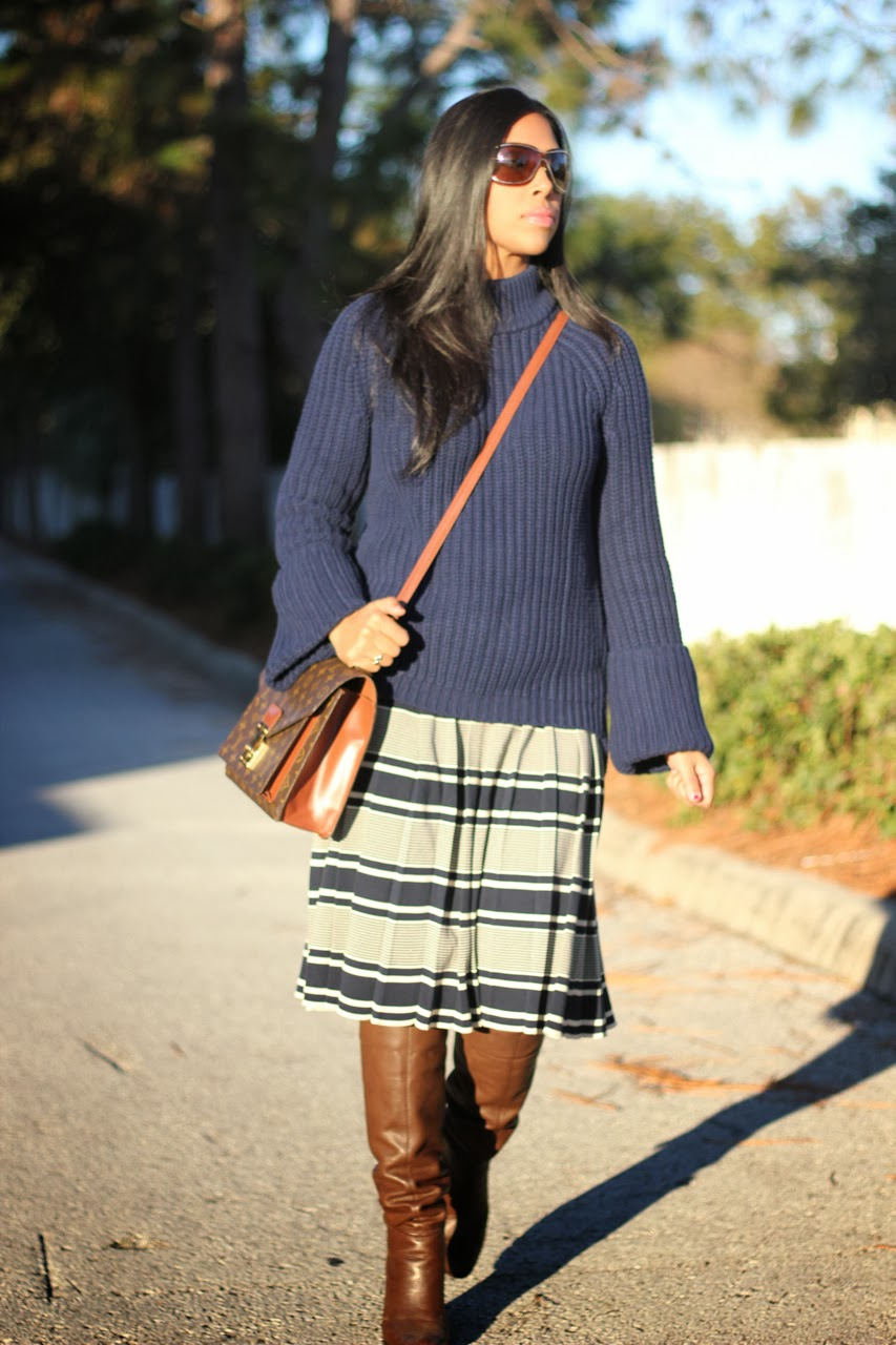 asos navy cuff sweater stripe knit skirt tory burch midi louis vuitton monogram monceau