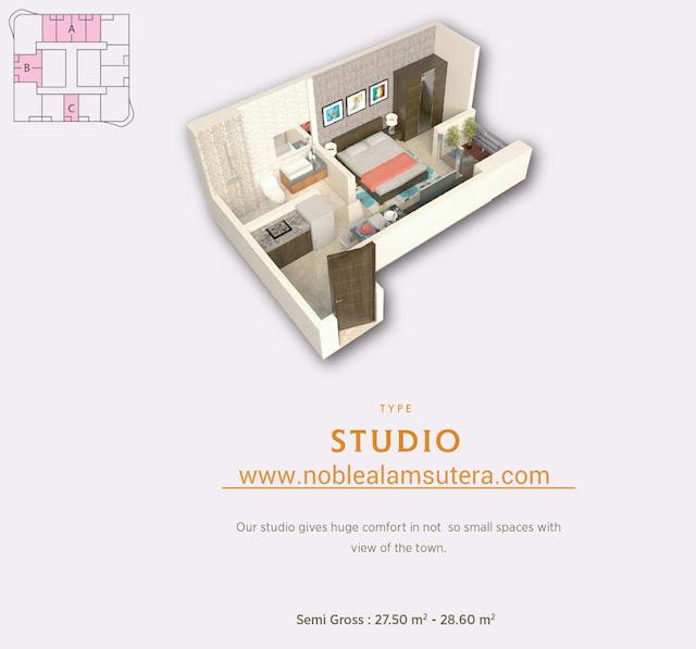 Tipe Studio Apartemen The Noble Alam Sutera