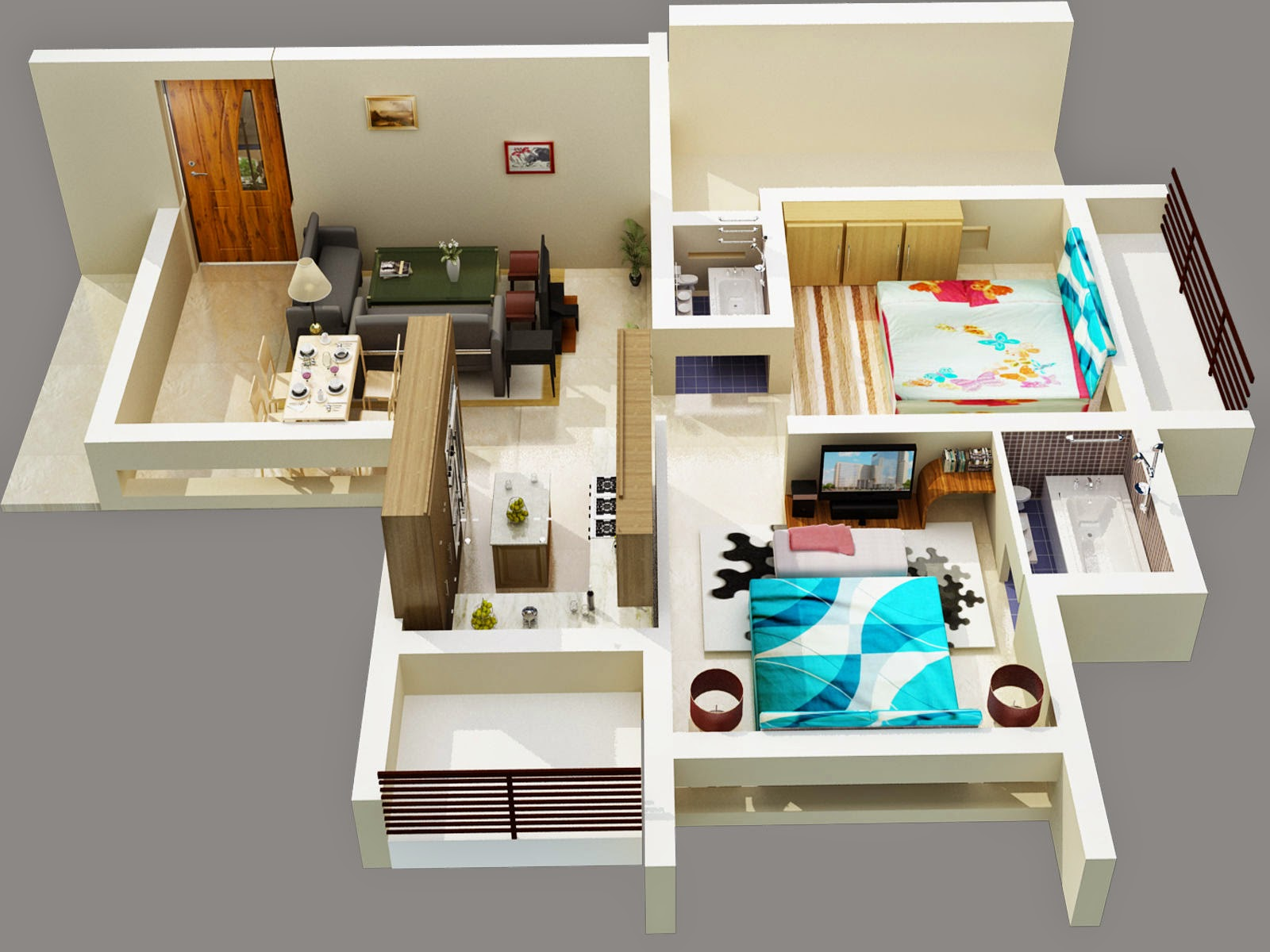 Foundation dezin decor 3d floor layout with for Bedroom layout maker