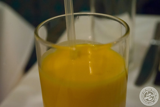 image of mango lassi at Tulsi, Indian restaurant in Midtown East, NYC, New York